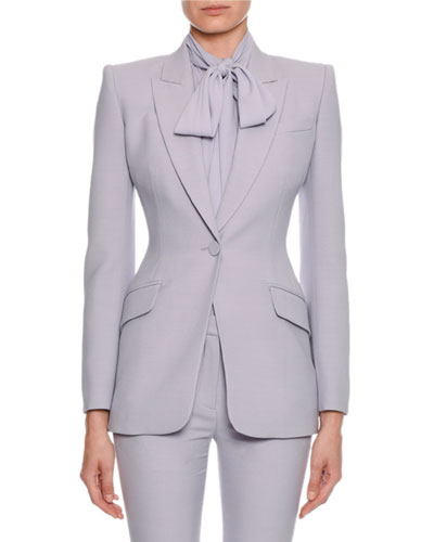 Fitted Flap-Pocket Wool-Silk Blazer