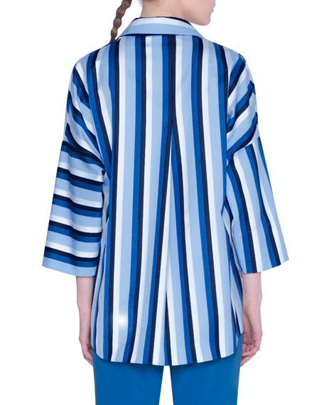 Kodak Striped Poplin Kimono Blouse