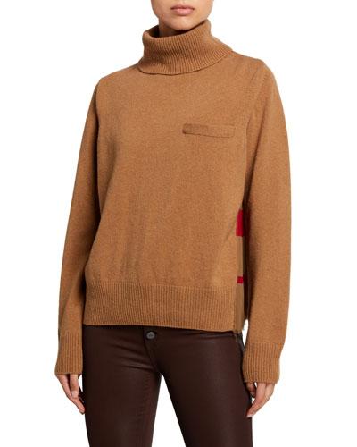 Solid Front Blanket Print Turtleneck Sweater