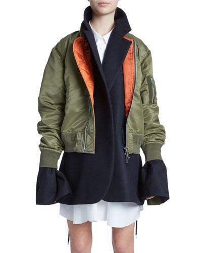 Nylon Bomber Layered Jacket