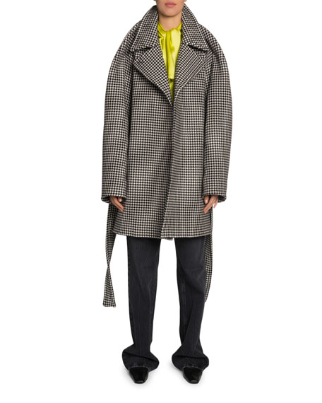 Houndstooth Wool-Cashmere Coat