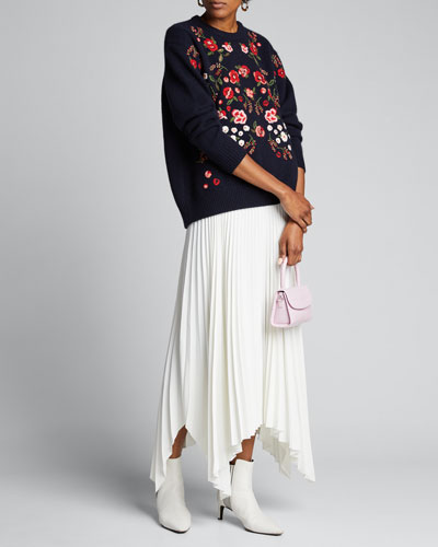Floral-Embroidered Wool-Cashmere Sweater