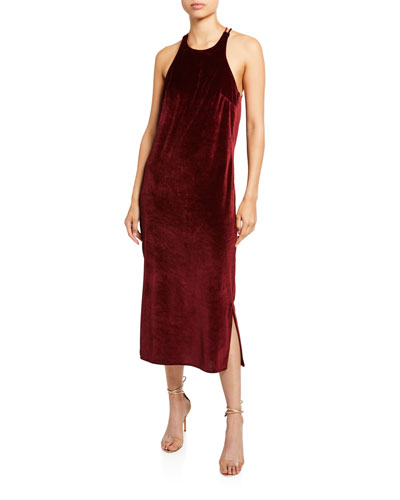 Velvet Draped Back Dress