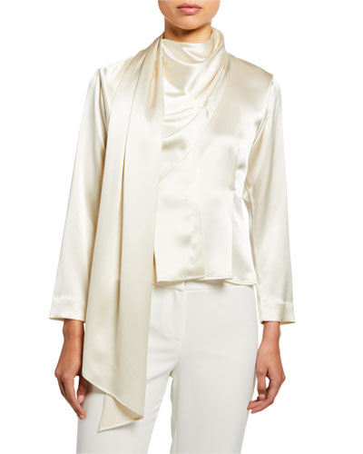 Silk Satin Draped Scarf Shirt