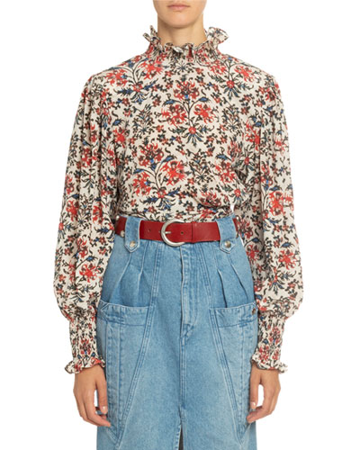 Floral Print Silk Mock-Neck Blouse