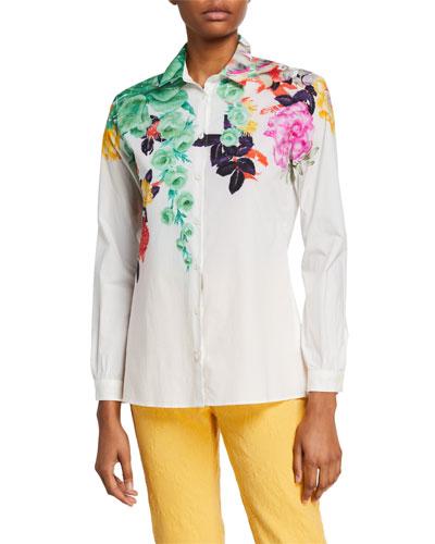 Bouquet-Print Cotton Poplin Shirt