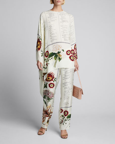 Image 1 of 1: Floral Script Asymmetrical Long-Sleeve Silk Blouse