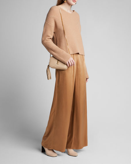 Image 1 of 1: Satin Wide-Leg Track Pants, Camel