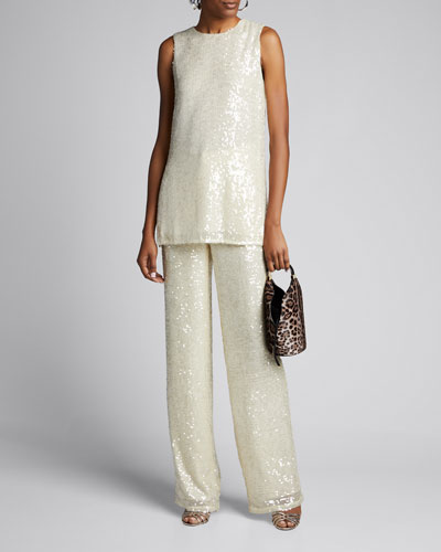 Sequined Jersey High-Rise Trousers  Cream