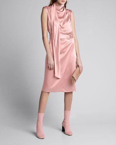 Satin Scarf-Neck Dress  Pink