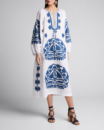 Shalimar Embroidered Linen Tie-Neck Dress