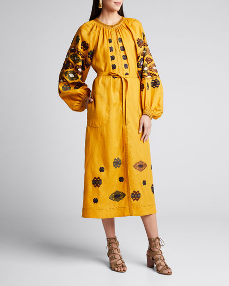 Bodrum Embroidered Balloon-Sleeve Dress
