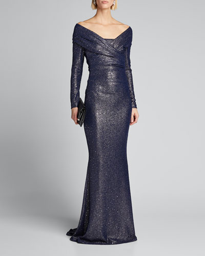 Ruched Sequined Stretch Jersey Gown