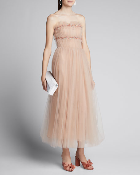 Image 1 of 1: Ruched Tulle Strapless Cocktail Dress