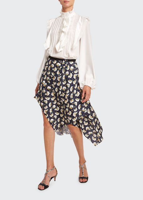 Ruffled Crepe de Chine Button-Front Top