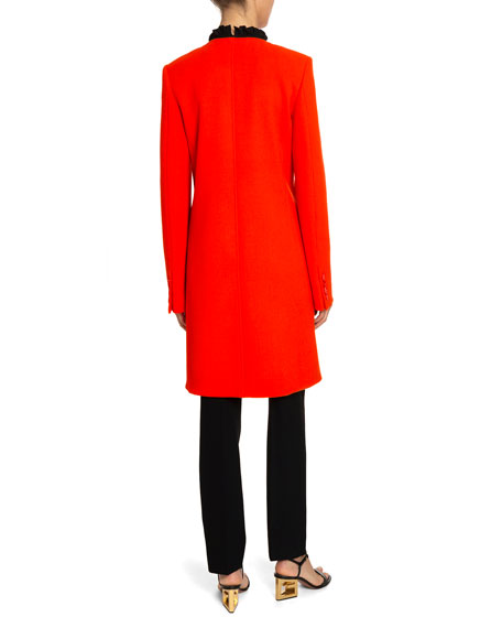 Button-Front Wool Crepe Coat