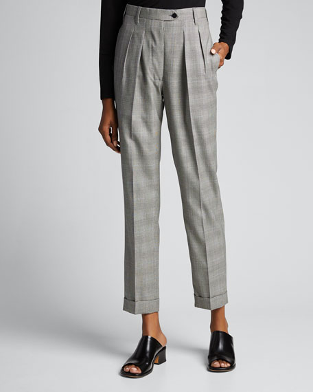 Checked Double Pinces Classic Tailored Trousers