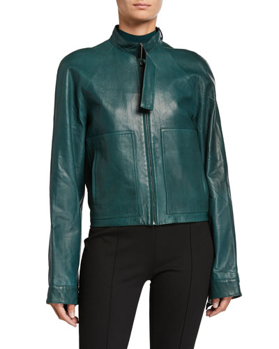 Leather Moto Utility Jacket