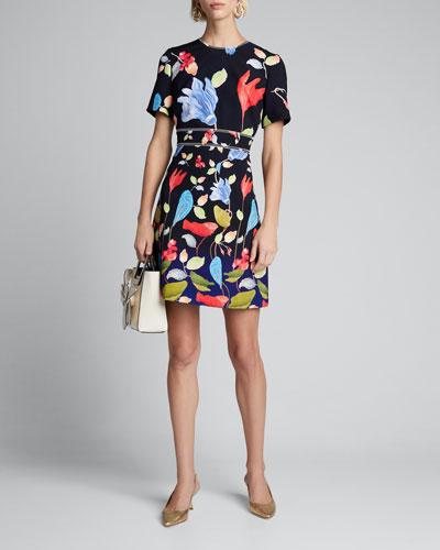 Floral-Print Cady Short-Sleeve Dress