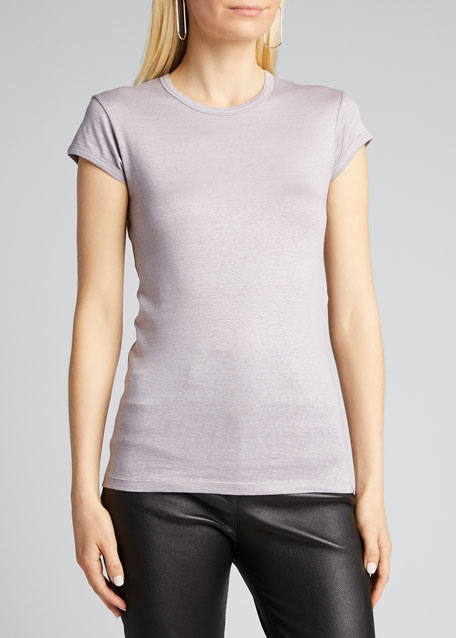 Stretch-Linen Cap-Sleeve Fitted Tee
