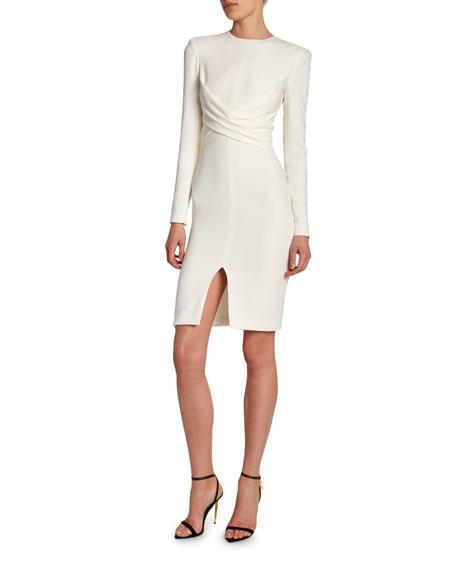 Silk Crisscross-Front Bodycon Dress