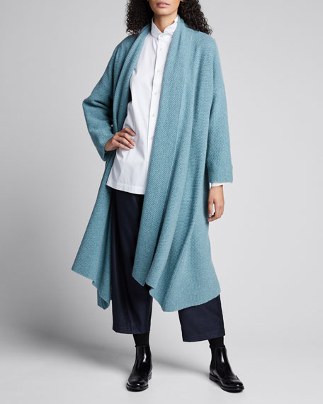 Image 1 of 1: Cashmere A-Line Scrunched Shawl-Collar Cardigan
