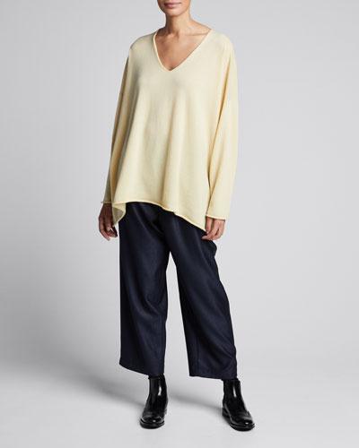V-Neck A-Line Raw-Edge Cashmere Sweater