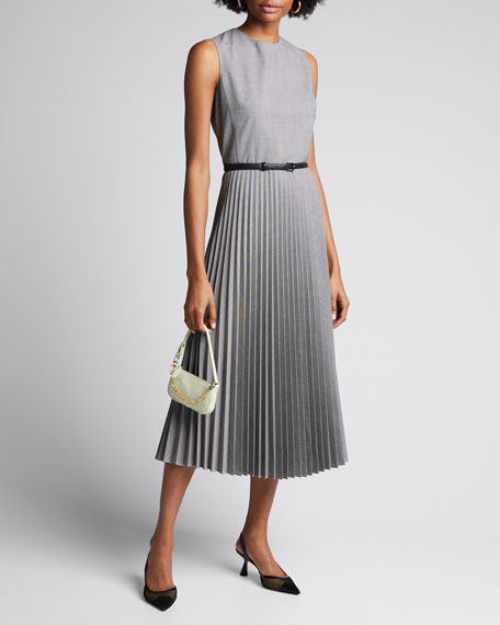Image 1 of 1: Ariella Checked Wool Midi Dress