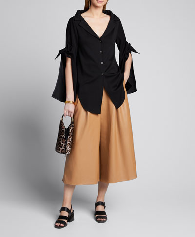 Tiered Tie-Sleeve Button-Front  Blouse