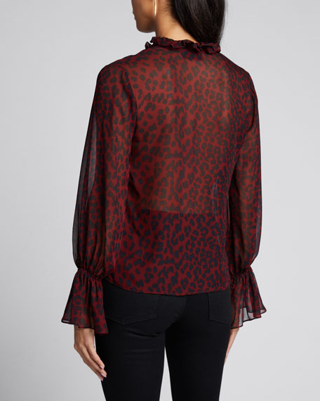 Demi Silk Leopard Print Top