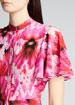Floral Crepe de Chine Fluttered Cap-Sleeve Midi Dress