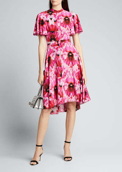 Floral Crepe de Chine Fluttered Cap-Sleeve Midi Dress