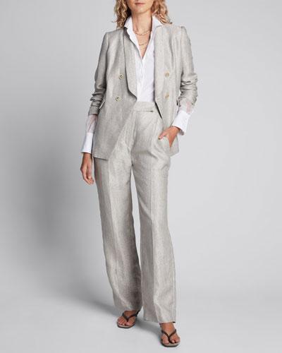 Monili-Beaded Organza Sleeve Poplin Shirt, White