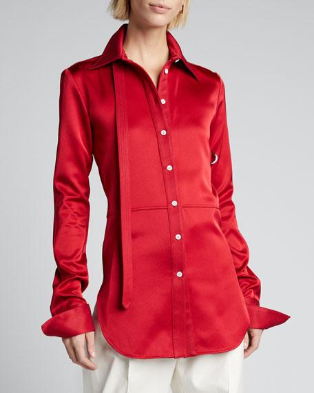 Paneled Stretch Satin Shirt
