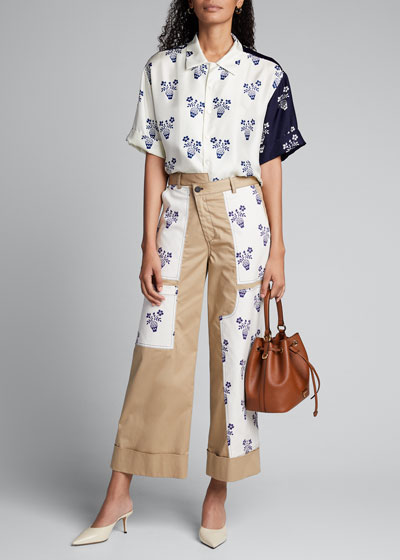 Floral Patchwork Cropped Pants