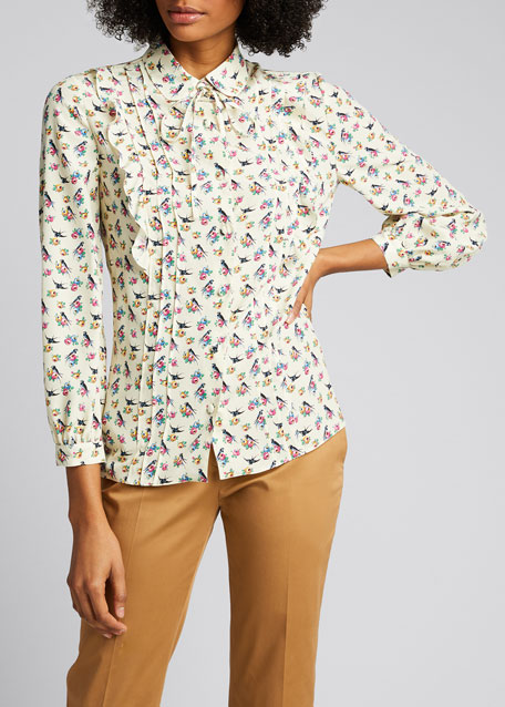 Swallow & Roses Crepe de Chine Shirt