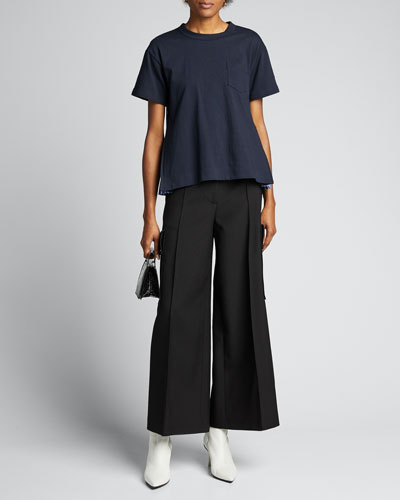 Tee with Striped Pleated Sides