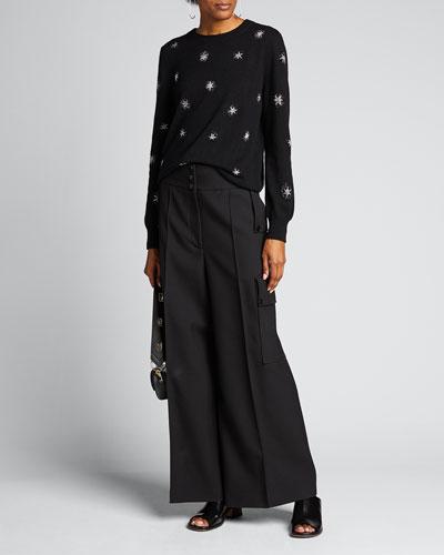 Stars Cashmere-Silk Crewneck Sweater