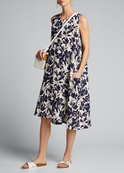 Pleated 3/4-Sleeve Dress
