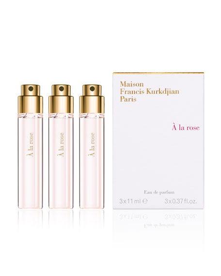 À la rose Eau de Parfum Travel Spray Refills, 3 x 0.37 oz./ 11 mL