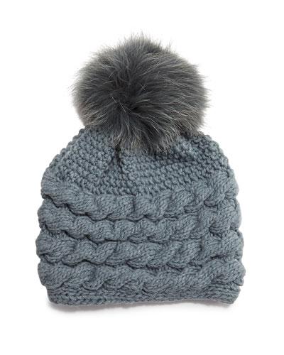 Cashmere Cable-Knit Beanie Hat w/Fur Pom Pom