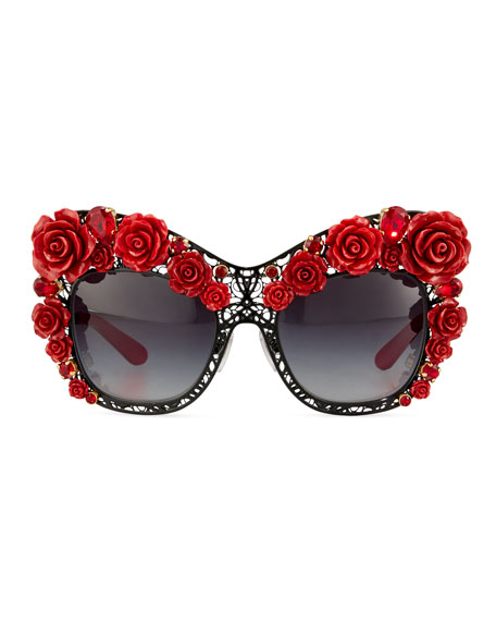 Dolce Lace Rose & Rhinestone Cat-Eye Sunglasses, Black/Red