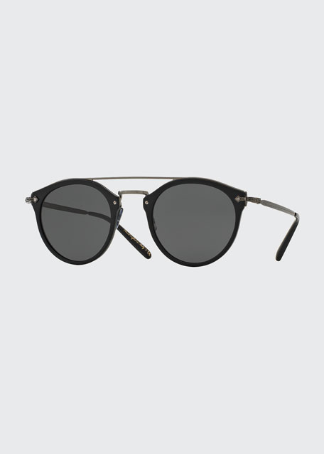 Image 1 of 1: Remick Monochromatic Brow-Bar Sunglasses, Black