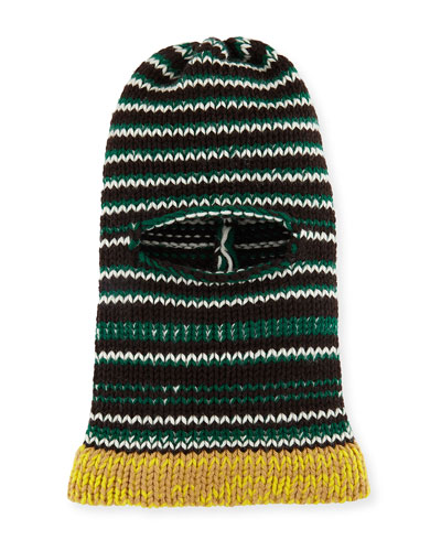 Balaclava Graphic Stripe Fitted Knit Hood Hat