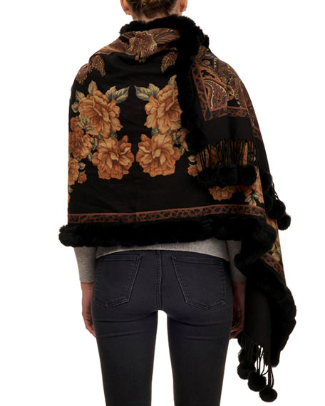 Paisley & Floral Cashmere Stole w/ Fur Trim
