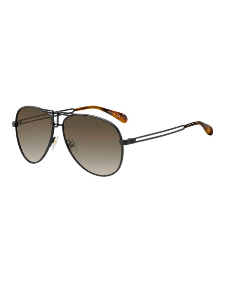 Image 1 of 1: Metal Cutout Aviator Sunglasses