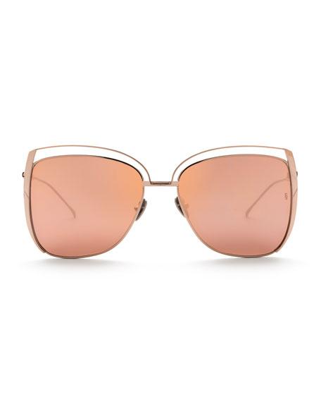 Poppy Cutout Titanium Square Sunglasses