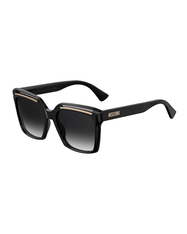 Moschino Sunglasses Square Cutout Acetate Sunglasses