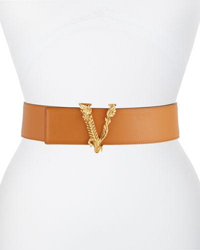 Vertus V Buckle Leather Belt