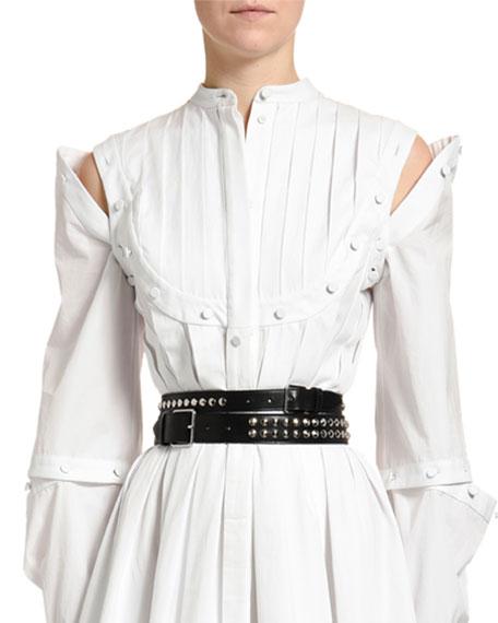 Double-Wrap Studded Leather Belt